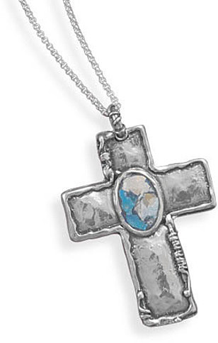 "18"" Oxidized Cross with Roman Glass Necklace 925 Sterling Silver"