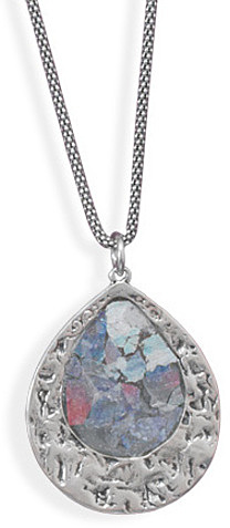 "17"" Oxidized Roman Glass Necklace 925 Sterling Silver - DISCONTINUED"