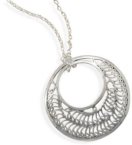 "18"" Necklace with Oxidized Cut Out Design Pendant 925 Sterling Silver"