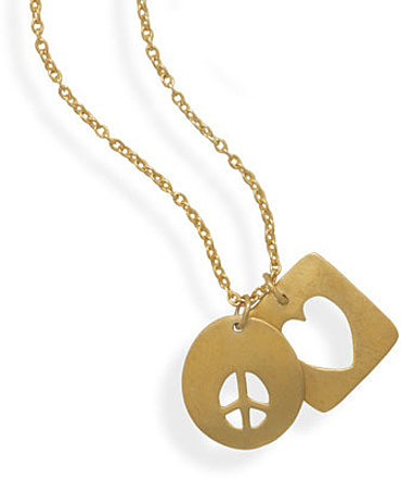 "16""+2"" 14 Karat Gold Plated Necklace with Heart and Peace Sign Tag 925 Sterling Silver"