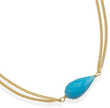 "16""+2"" Double Strand 14 Karat Gold Plated and Turquoise Necklace 925 Sterling Silver"