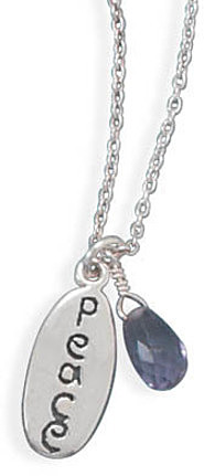 "18"" Peace Tag and Amethyst Bead Necklace 925 Sterling Silver"