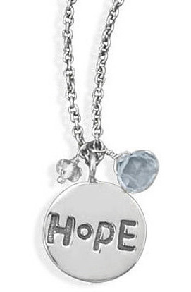 "16""+2"" Oxidized Necklace with Hope Tag and Quartz 925 Sterling Silver"