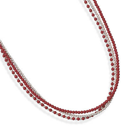 "16""+2"" Triple Strand Sterling Silver and Coral Necklace"