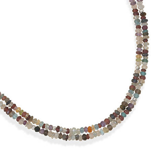 "16""+2"" Double Strand Faceted Gemstone Necklace 925 Sterling Silver"