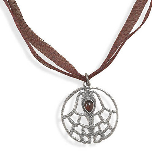 "17.5"" Organza Necklace with Garnet Pendant 925 Sterling Silver"