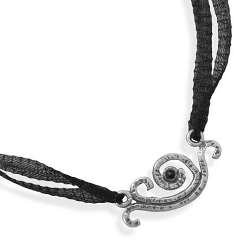 "18"" Organza Necklace with Black Onyx Pendant 925 Sterling Silver"
