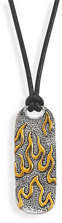 "17"" Leather Necklace with Two Tone Flame Pendant 925 Sterling Silver"