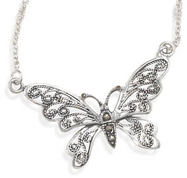 "16"" Oxidized Marcasite Butterfly Necklace 925 Sterling Silver"