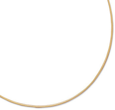 "20"" 1mm (0.04"") 22 Karat Gold Plated Sterling Silver Round Omega"