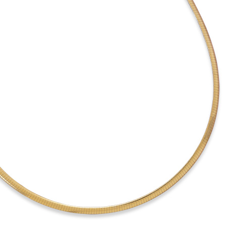 "18"" 3mm (1/8"") 22 Karat Gold Plated Sterling Silver Reversible Omega - DISCONTINUED"
