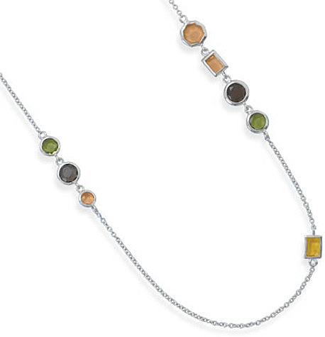 "18""+2"" Rhodium Plated Multicolor CZ Necklace 925 Sterling Silver"