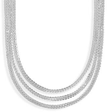 "18"" Graduated Multistrand Necklace 925 Sterling Silver"