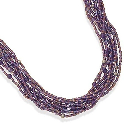 "18.5""+3"" Multistrand Glass Bead Necklace 925 Sterling Silver"