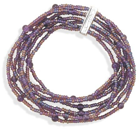 "7"" Multistrand Glass Bead Bracelet 925 Sterling Silver - DISCONTINUED"