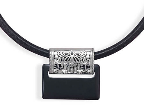 "16""+3"" Leather Necklace with Black Onyx Slide 925 Sterling Silver - DISCONTINUED"