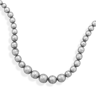 "16""+2"" Oxidized Silver Bead Necklace 925 Sterling Silver"