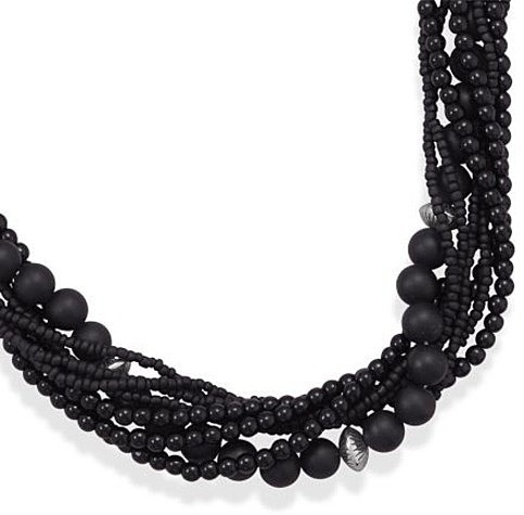 "18""+3"" Multistrand Black Onyx and Glass Bead Necklace 925 Sterling Silver"