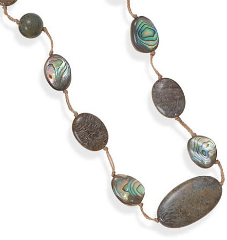 "16""+2"" Jasper and Abalone Shell Cord Necklace 925 Sterling Silver"