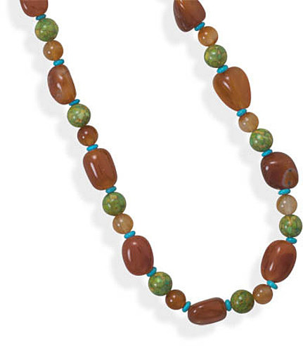 "36"" Carnelian and Magnesite Necklace - DISCONTINUED"