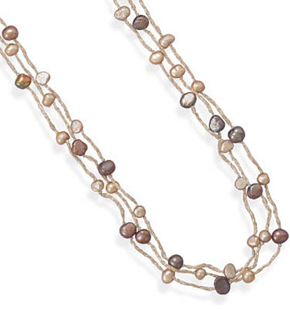 "39"" Triple Strand Cultured Freshwater Pearl Necklace 925 Sterling Silver"