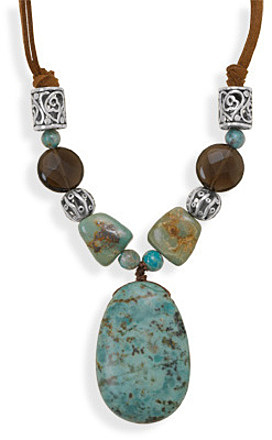 "16""+2"" Turquoise and Quartz Cord Necklace 925 Sterling Silver"