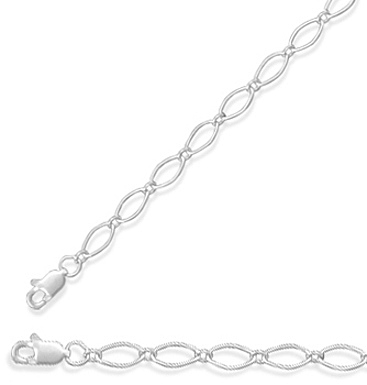 "18"" 3.5mm (1/7"") Long and Short Alternating Link Chain 925 Sterling Silver"