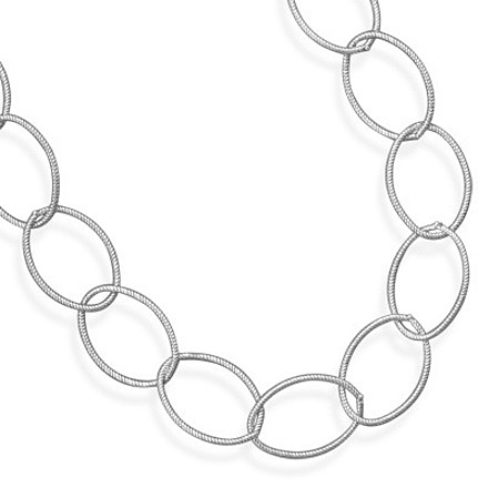 "20"" Oxidized Twisted Link Necklace 925 Sterling Silver"