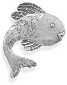 Oxidized Fish Pin/Pendant 925 Sterling Silver