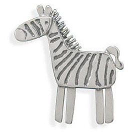 Oxidized Zebra Pin/Pendant 925 Sterling Silver - LIMITED STOCK