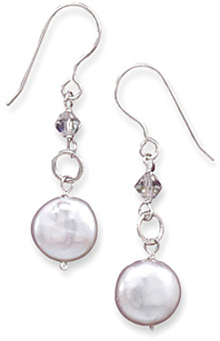 "12mm (7/16"") Coin Pearl and Crystal French Wire Earrings 925 Sterling Silver"