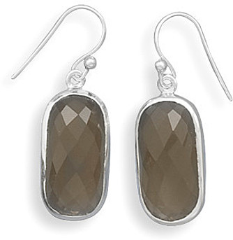 Faceted Smoky Quartz French Wire Earrings 925 Sterling Silver