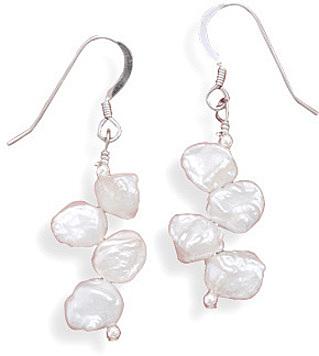 Cultured Freshwater Keshi Pearl Earrings 925 Sterling Silver