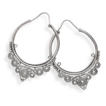 Oxidized Coil Design Hoop Earrings 925 Sterling Silver- DISCONTINUED