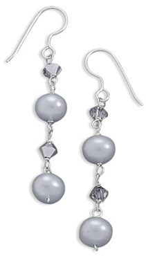 Silver Cultured Freshwater and Crystal Earrings 925 Sterling Silver