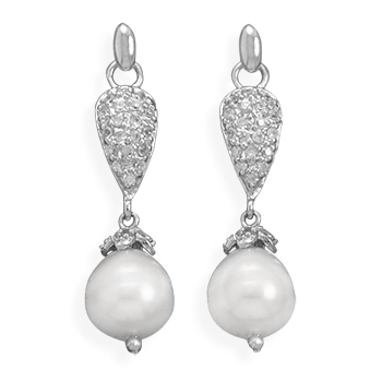 Rhodium Plated CZ and Cultured Freshwater Pearl Earrings - DISCONTINUED