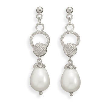 CZ and Cultured Freshwater Pearl Rhodium Plated Earrings - DISCONTINUED
