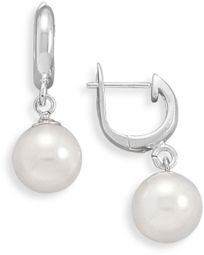 Simulated Pearl Hinged Hoop Earrings 925 Sterling Silver - LIMITED STOCK