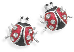 Lady Bug Stud Earrings 925 Sterling Silver