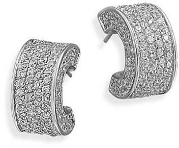 Rhodium Plated Pave CZ 3/4 Hoop Earrings 925 Sterling Silver