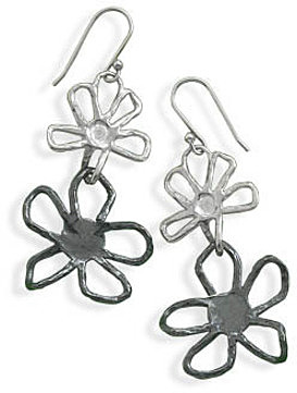 Double Flower Drop Earrings 925 Sterling Silver