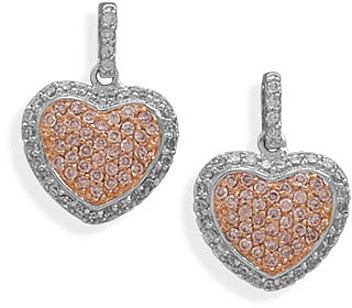 Rhodium Plated CZ Heart Post Earrings 925 Sterling Silver