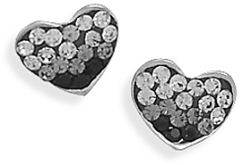 White and Black Crystal Heart Earrings 925 Sterling Silver