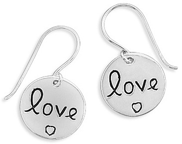 """love"" Tag Earrings 925 Sterling Silver"