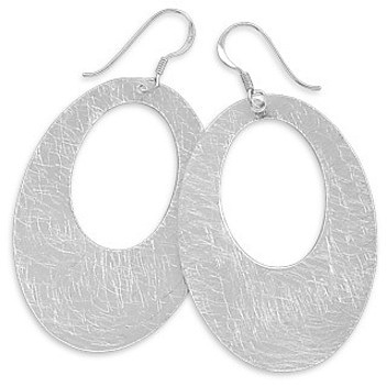 Oval Brushed Earrings 925 Sterling Silver