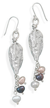 Textured Silver Leaf and Cultured Freshwater Pearl Earrings 925 Sterling Silver