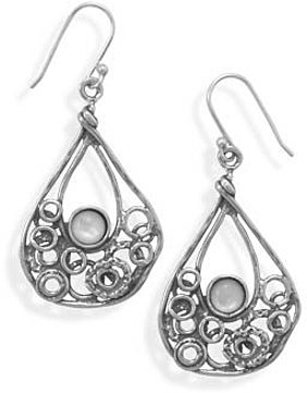 Pear Shape Earrings with Shell 925 Sterling Silver