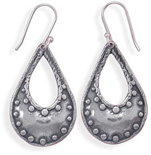 Oxidized Pear Shape Earrings with Bead Design 925 Sterling Silver