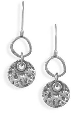 Oxidized Textured Circle Drop Earrings 925 Sterling Silver - DISCONTINUED