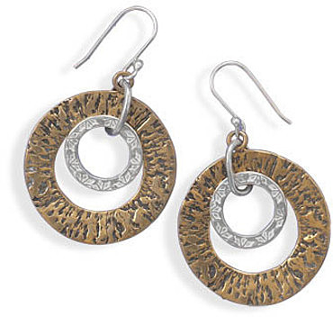 Two Tone Circle Drop Earrings 925 Sterling Silver
